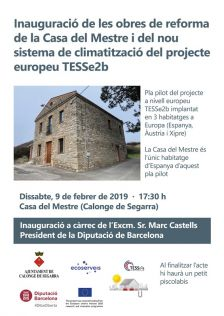 Inauguració de les obres de reforma de la Casa del Mestre i del projecte europeu TESSe2b